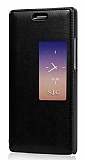 Huawei P10 Pencereli İnce Kapaklı Siyah Kılıf
