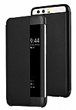 Huawei P10 Pencereli İnce Yan Kapaklı Siyah Kılıf