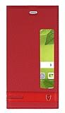 Huawei P10 Plus Gizli Mıknatıslı Pencereli Kırmızı Deri Kılıf