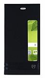 Huawei P10 Plus Gizli Mıknatıslı Pencereli Siyah Deri Kılıf