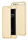 Huawei P10 Plus Pencereli İnce Yan Kapaklı Gold Kılıf