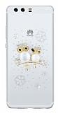 Huawei P10 Plus Taşlı Baykuş Şeffaf Silikon Kılıf