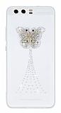 Huawei P10 Taşlı Kelebek Şeffaf Silikon Kılıf