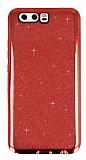 Huawei P10 Taşlı Kenarlı Simli Kırmızı Silikon Kılıf