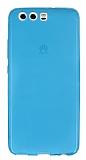 Huawei P10 Ultra İnce Şeffaf Mavi Silikon Kılıf