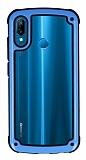 Huawei P20 Lite Jelly Bumper Şeffaf Ultra Koruma Mavi Kılıf