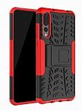 Huawei P20 Pro Süper Koruma Standlı Kırmızı Kılıf