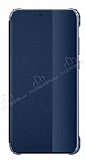 Huawei P20 Lite Uyku Modlu İnce Yan Kapaklı Lacivert Kılıf