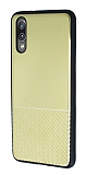Huawei P20 Silikon Kenarlı Aynalı Metal Gold Kılıf