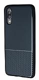 Huawei P20 Silikon Kenarlı Aynalı Metal Siyah Kılıf