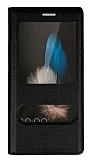 Huawei P8 Lite Pencereli İnce Kapaklı Siyah Kılıf