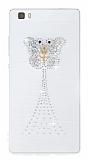Huawei P8 Lite Taşlı Kelebek Şeffaf Silikon Kılıf