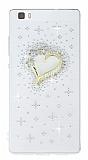Huawei P8 Lite Ta�l� Kalp �effaf Silikon K�l�f