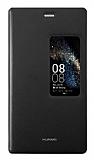 Huawei P8 Orjinal Pencereli Kapaklı Siyah Deri Kılıf