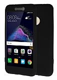 Huawei P9 Lite 2017 360 Derece Koruma Likit Siyah Silikon Kılıf