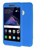 Huawei P9 Lite 2017 360 Derece Koruma Likit Mavi Silikon Kılıf