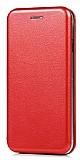 Huawei P9 Lite 2017 Curve Manyetik Kapaklı Kırmızı Deri Kılıf