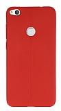 Huawei P9 Lite 2017 Deri Desenli Ultra İnce Kırmızı Silikon Kılıf