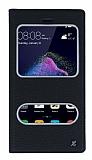 Huawei P9 Lite 2017 Gizli Mıknatıslı Çift Çerçeveli Siyah Deri Kılıf