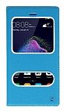 Huawei P9 Lite 2017 Gizli Mıknatıslı Çift Çerçeveli Mavi Deri Kılıf