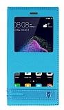 Huawei P9 Lite 2017 Gizli Mıknatıslı Pencereli Mavi Deri Kılıf