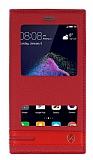 Huawei P9 Lite 2017 Gizli Mıknatıslı Pencereli Kırmızı Deri Kılıf
