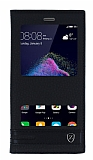 Huawei P9 Lite 2017 Gizli Mıknatıslı Pencereli Siyah Deri Kılıf