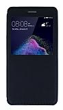 Huawei P9 Lite 2017 Pencereli İnce Kapaklı Siyah Kılıf