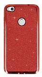 Huawei P9 Lite 2017 Taşlı Kenarlı Simli Kırmızı Silikon Kılıf