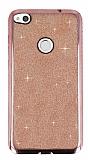 Huawei P9 Lite 2017 Taşlı Kenarlı Simli Rose Gold Silikon Kılıf