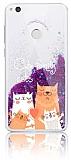 Huawei P9 Lite 2017 Simli Sulu Kedi Ailesi Mor Silikon Kılıf