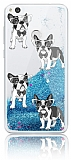 Huawei P9 Lite 2017 Simli Sulu Parfüm Köpekli Mavi Silikon Kılıf