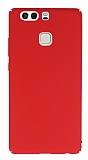 Huawei P9 Tam Kenar Koruma Kırmızı Rubber Kılıf