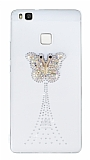 Huawei P9 Lite Taşlı Kelebek Şeffaf Silikon Kılıf