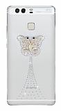 Huawei P9 Taşlı Kelebek Şeffaf Silikon Kılıf