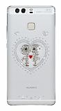 Huawei P9 Taşlı Love Şeffaf Silikon Kılıf