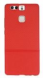 Huawei P9 Ultra �nce Noktal� K�rm�z� Silikon K�l�f