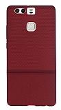 Huawei P9 Ultra �nce Noktal� Bordo Silikon K�l�f