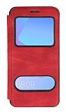 Huawei Y6 2018 Çift Pencereli Kapaklı Kırmızı Kılıf