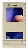 Huawei Y6 ii Gizli Mıknatıslı Pencereli Gold Deri Kılıf