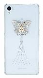Huawei Y6 ii Taşlı Kelebek Şeffaf Silikon Kılıf