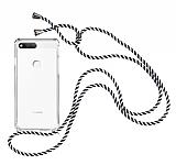 Huawei Y7 2018 Çizgili Askılı Şeffaf Silikon Kılıf