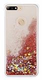 Huawei Y7 2018 Simli Sulu Kırmızı Rubber Kılıf