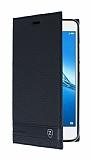 Huawei Y7 Gizli Mıknatıslı Yan Kapaklı Siyah Deri Kılıf