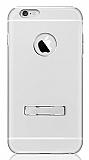 ibacks Armour iPhone 6 Plus / 6S Plus Standlı Premium Alüminyum Silver Kılıf