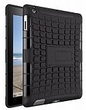 iPad 2 / 3 / 4 Ultra Süper Koruma Standlı Siyah Kılıf