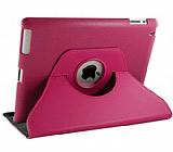 iPad 2 / iPad 3 / iPad 4 360 Derece Döner Standlı Koyu Pembe Deri Kılıf