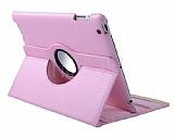 iPad 2 / iPad 3 / iPad 4 360 Derece Döner Standlı Pembe Deri Kılıf