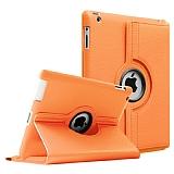 iPad 2 / iPad 3 / iPad 4 360 Derece Döner Standlı Turuncu Deri Kılıf