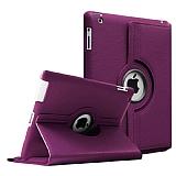 iPad 2 / iPad 3 / iPad 4 360 Derece Döner Standlı Mor Deri Kılıf